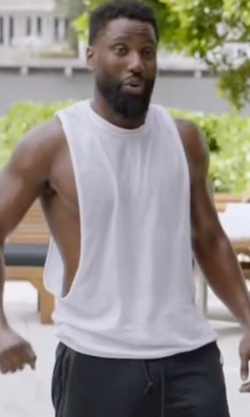 John David Washington with Denim & Supply Ralph Lauren Men's Jersey Muscle T-Shirt in Ballers