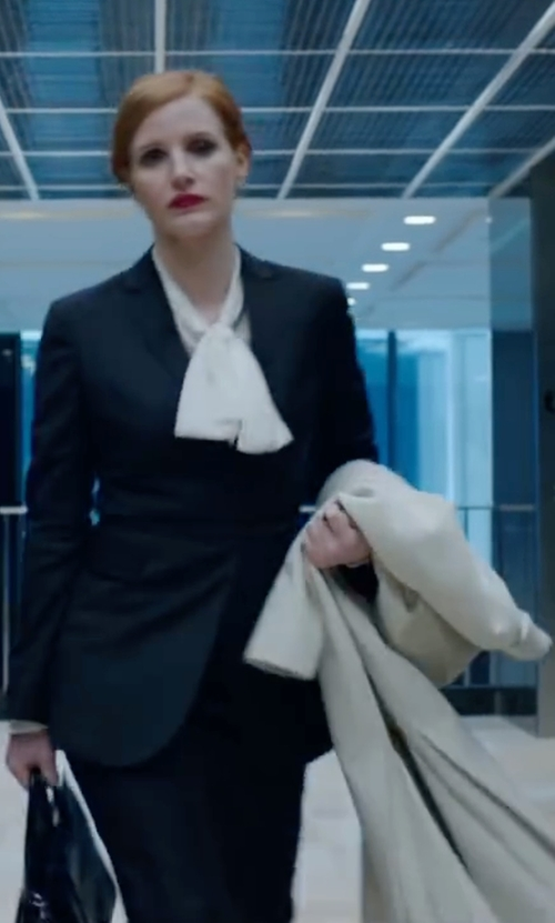 Jessica Chastain with Eileen Fisher Boiled Wool Funnel-Neck Coat in Miss Sloane
