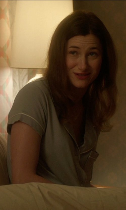 Kathryn Hahn with Alexander Del Rossa Cotton Short Sleeve Button Down Pj Set in The D Train