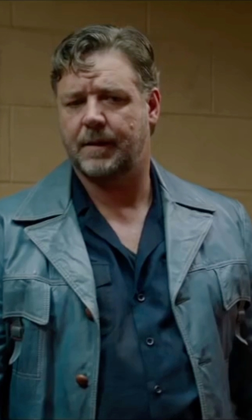 Russell Crowe with Norwell Lambskin Leather Jacket in The Nice Guys