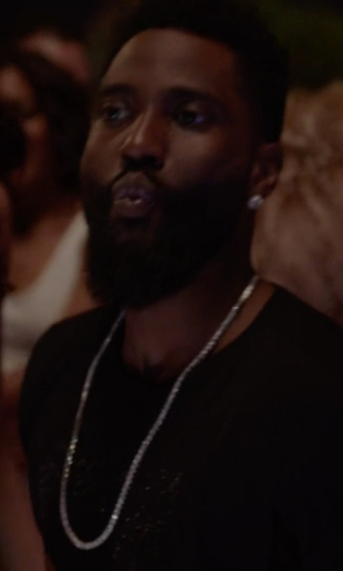 John David Washington with Sterling Silver Marina Chain Necklace in Ballers