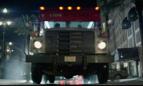 Emilia Clarke with International 1995 4700 Armored Truck in Terminator: Genisys