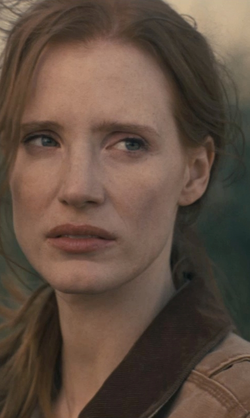 Jessica Chastain with Carharrt Weathered Duck Quinwood Chore Coat in Interstellar