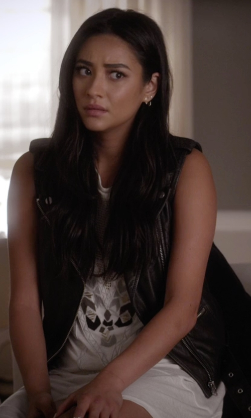 Shay Mitchell with Topshop Sleeveless Faux Leather Biker Jacket in Pretty Little Liars
