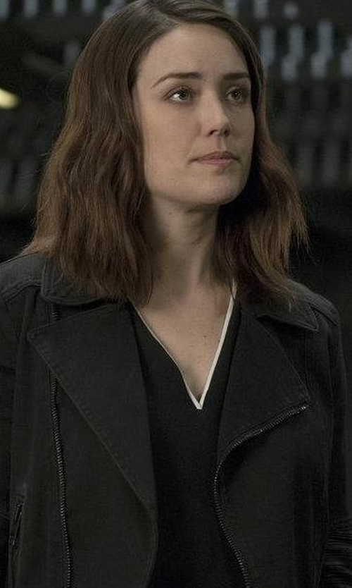 Megan Boone with Go by Go Silk Go Biker Silk Jacket in The Blacklist