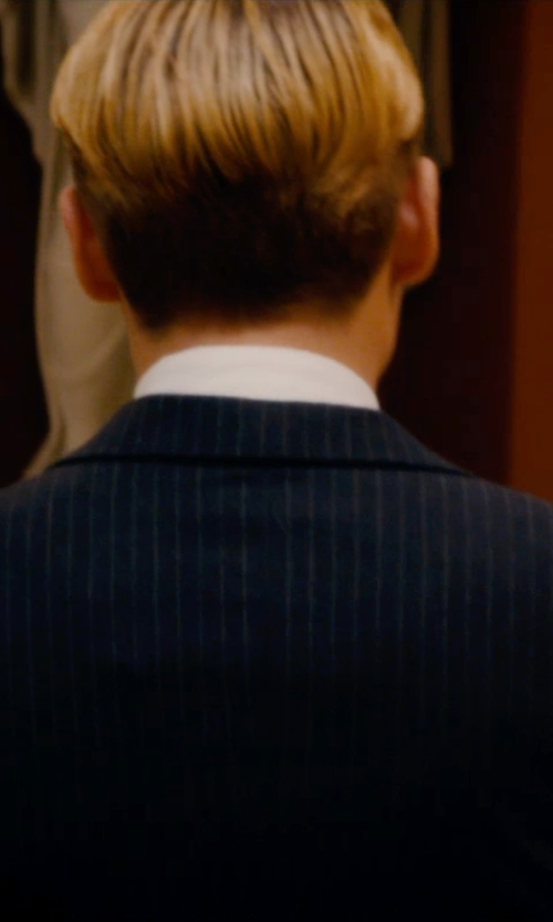 Johnny Depp with Dior Homme Pinstripe Suit in Mortdecai