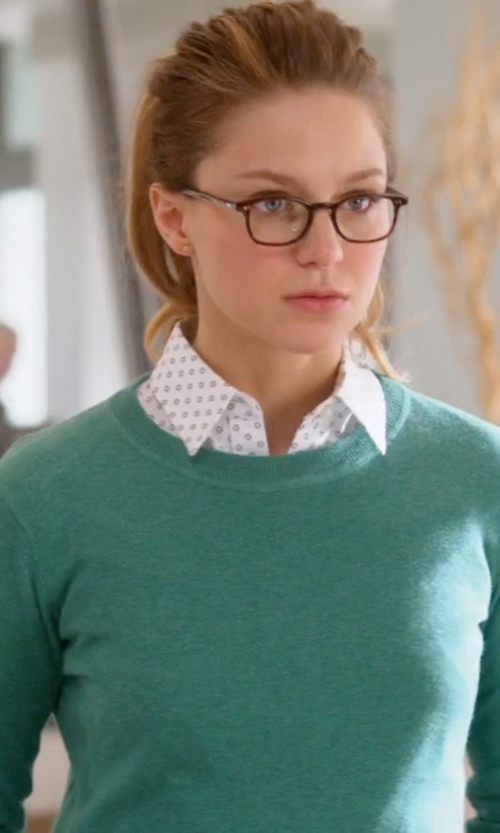 Melissa Benoist with Lauren Ralph Lauren Three-Quarter-Sleeve Shirt in Supergirl