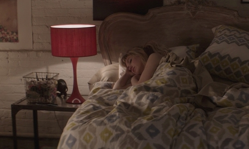 Imogen Poots with Lights Up Red Chintz Shade Table Lamp in That Awkward Moment