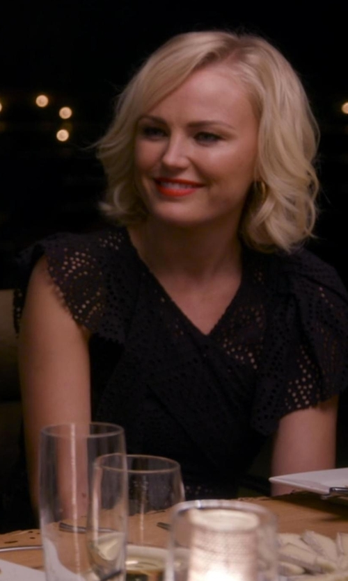 Malin Akerman with Patty Boutik V Neck Lace Overlay Lined Top in Chelsea