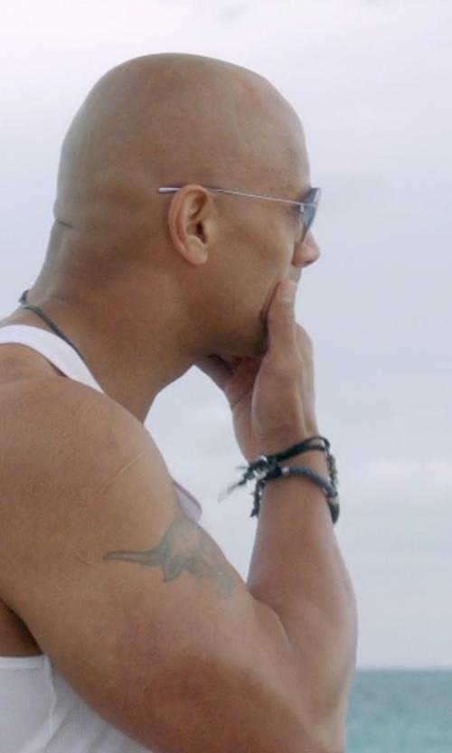 Dwayne Johnson with Tateossian Easter Island Ivory Macramé Bracelet in Ballers