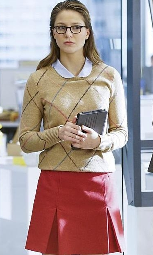 Melissa Benoist with Elisabetta Franchi Knee Length Skirt in Supergirl