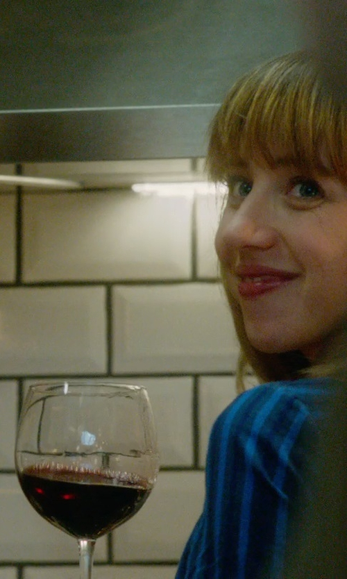 Zoe Kazan with Lalique 100 Points Burgundy Glass in What If