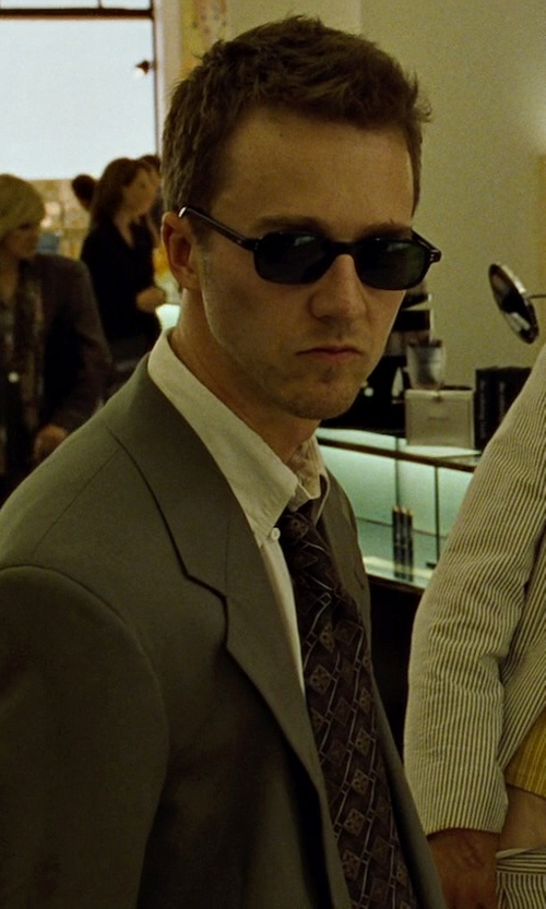 Edward Norton with Diesel Oversized Vintage Round Sunglasses in Fight Club