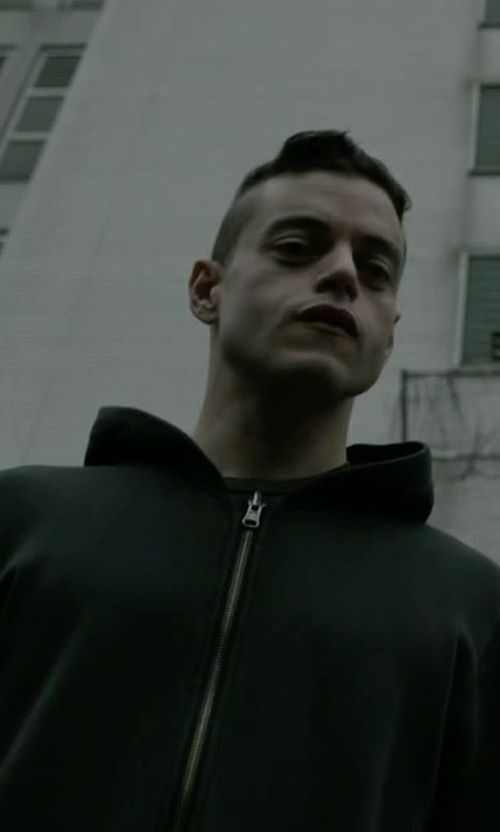 Rami Malek with B:Scott Vintage Black Hoodie in Mr. Robot