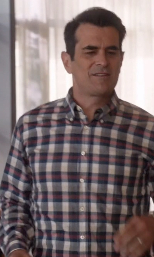 Ty Burrell with J.Crew Rustic Cotton Loyola Plaid Shirt in Modern Family