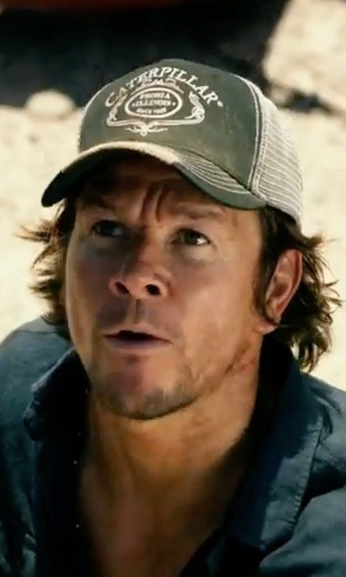 Mark Wahlberg with Caterpillar Script Trucker Cap in Transformers: The Last Knight
