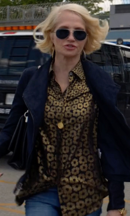 Ellen Barkin with Vince Leather Trim Drape Neck Jacket in Animal Kingdom