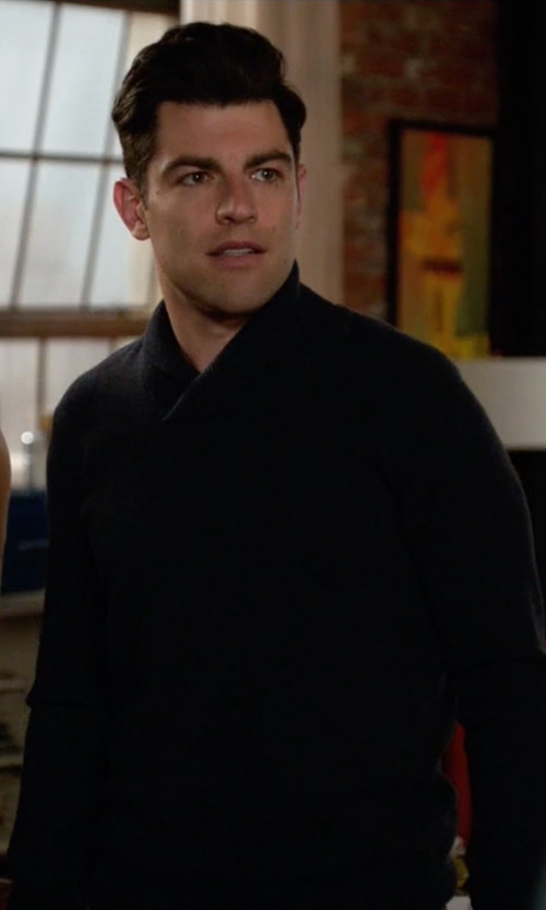 Max Greenfield with Theory Reece MS Cashwool Sweater in New Girl