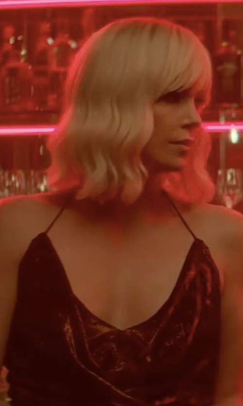 Charlize Theron with House of Harlow 1960 X Revolve Rae Dress in Atomic Blonde