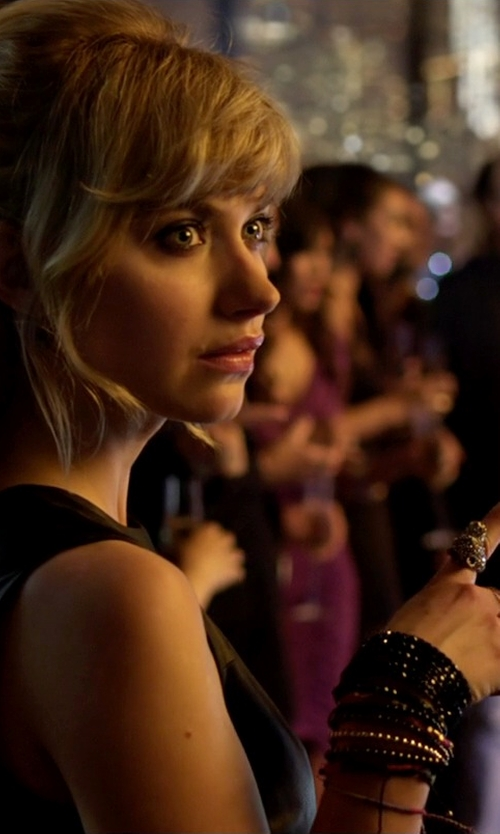 Imogen Poots with Chan Luu Black Crystal Stone Pearl Wrap Bracelet in Need for Speed