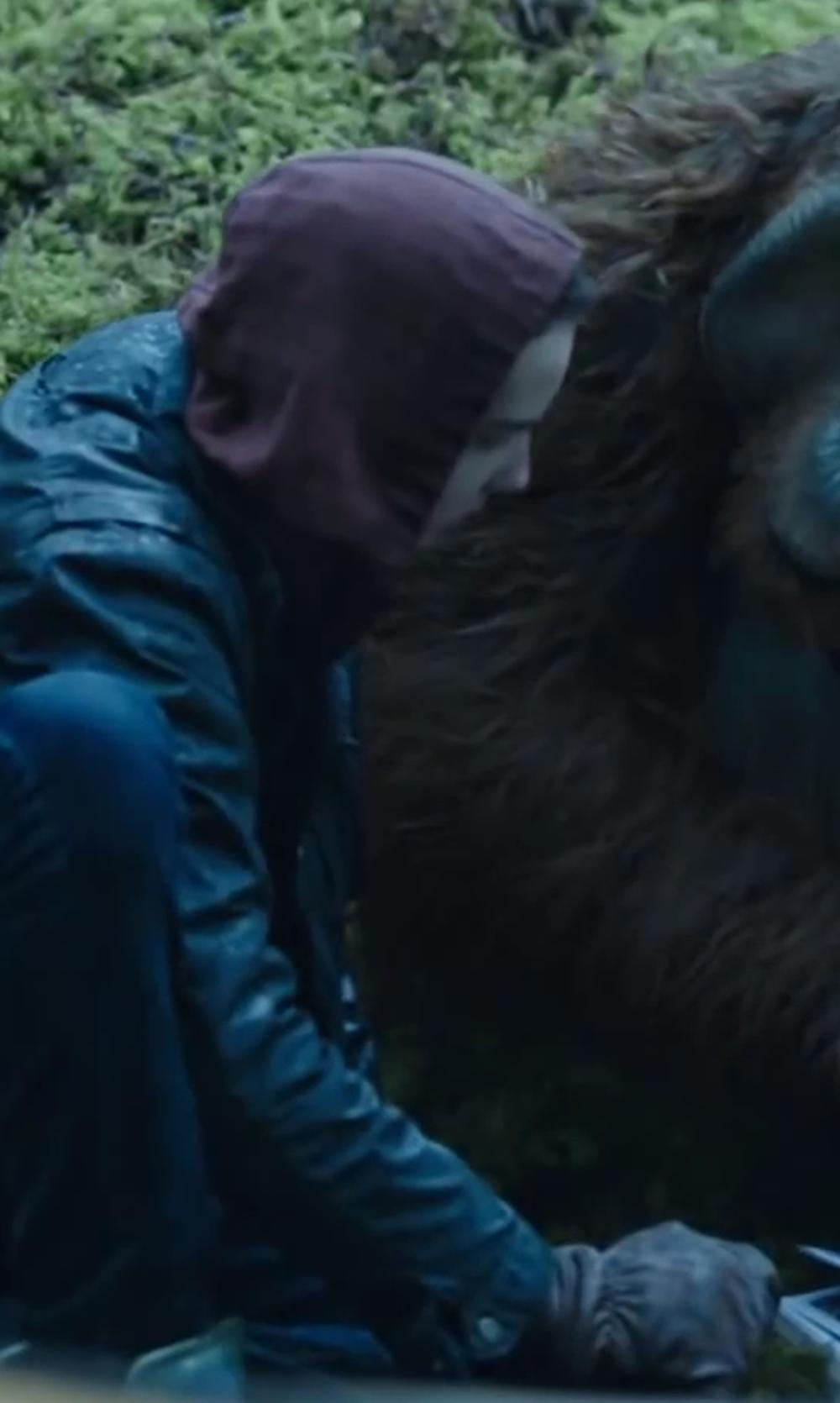 Kodi Smit-McPhee with BARNEYS NEW YORK Knit Leather Palm Gloves in Dawn of the Planet of the Apes