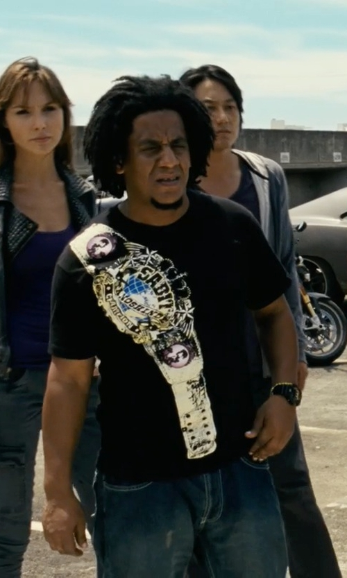 Tego Calderon with TV Store Online Championship Belt on Shoulder T-Shirt in Fast Five