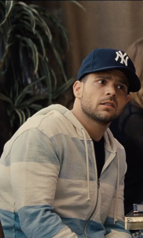 Jerry Ferrara with Threads 4 Thought Wide Stripe Hoodie in Entourage
