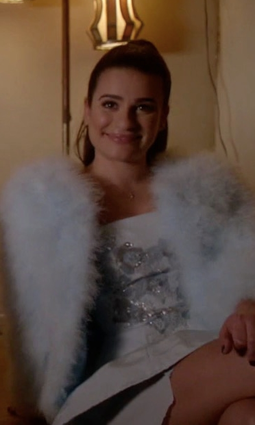 Lea Michele with Marchesa Notte Sequin Embellished Bandeau Dress in Scream Queens