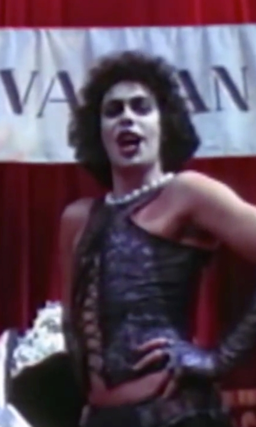 Tim Curry with Nina 'Indra' Shell Pearl Choker in The Rocky Horror Picture Show