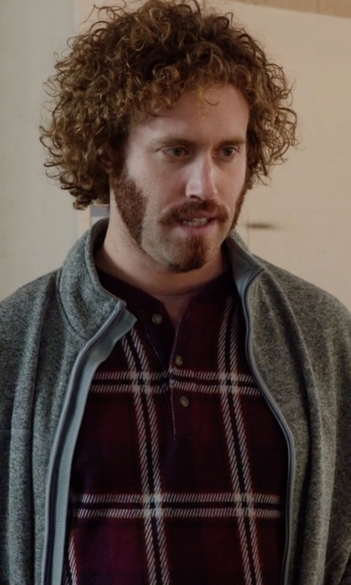 T.J. Miller with Eddie Bauer Plaid Henley Long Sleeve Shirt in Silicon Valley