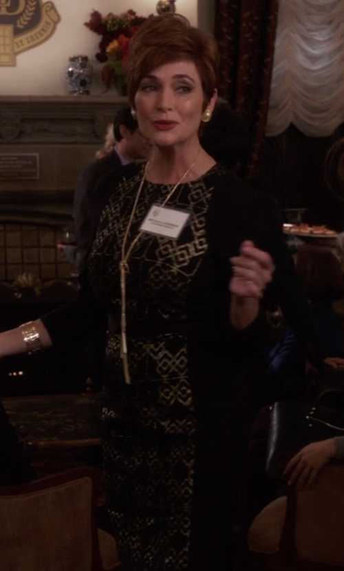 Carolyn Hennesy with Versace Jeans Long Sleeve Animal Sequined Dress in The Mindy Project