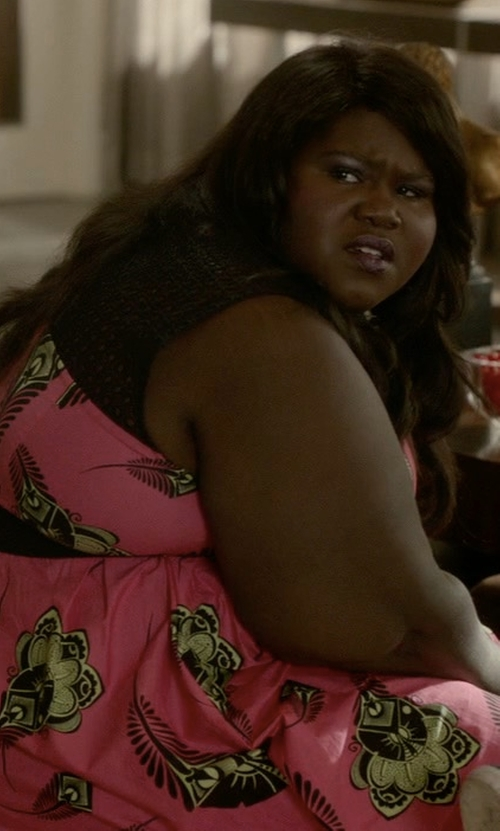 Gabourey Sidibe with Eloquii Pleated Poplin Dress with Eyelet Yoke in Empire