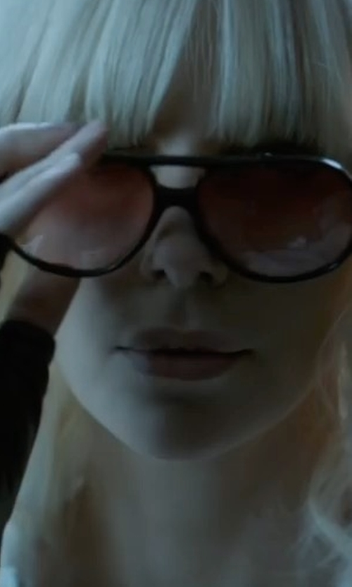 Charlize Theron with Tom Ford Isla Chunky Aviator Sunglasses in Atomic Blonde