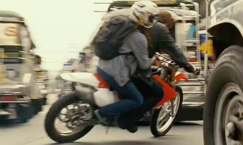 Jeremy Renner with Honda CRF450X Motorbike in The Bourne Legacy