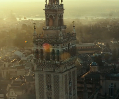 Michael Fassbender with Giralda Tower Seville, Spain in Assassin's Creed