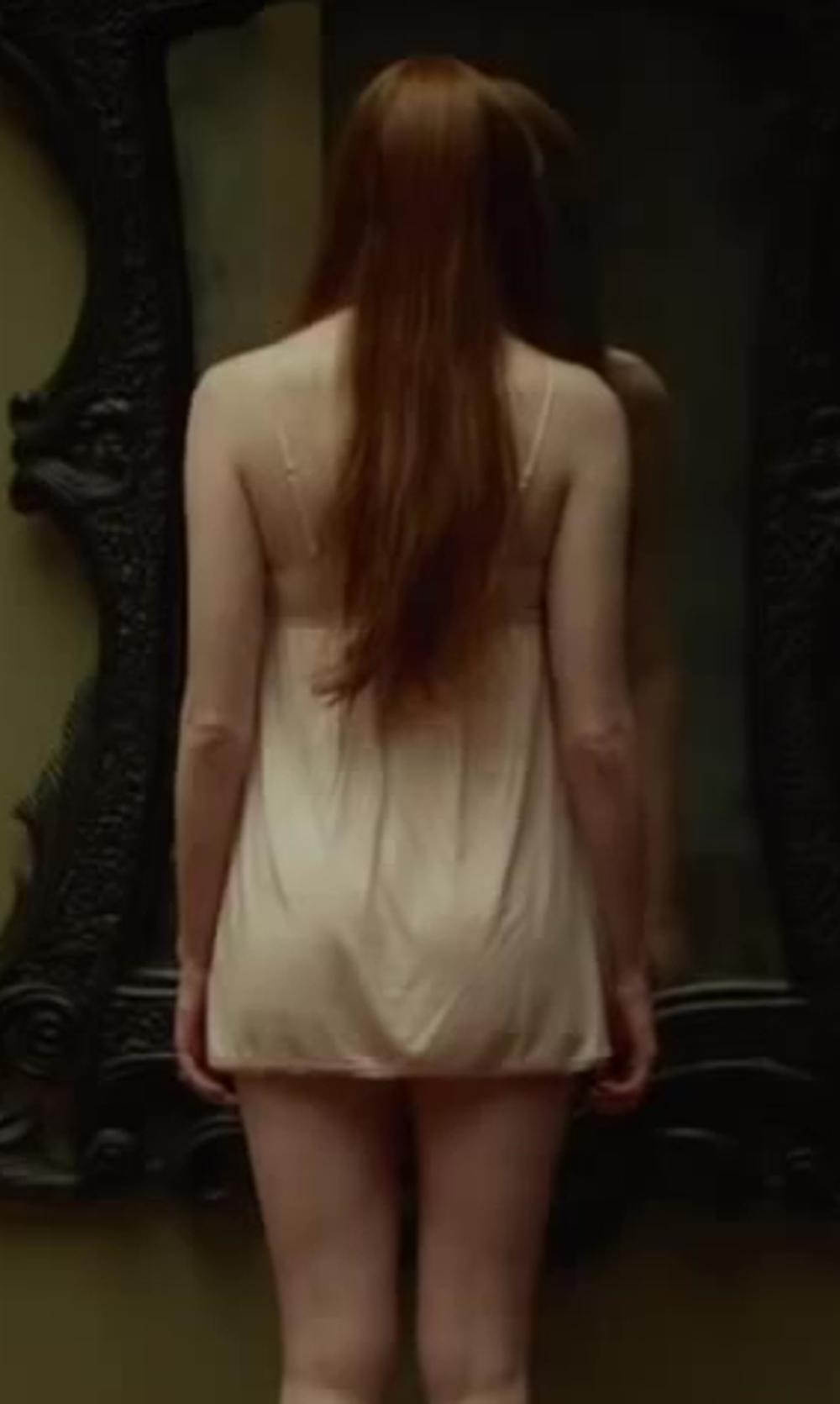 Karen Gillan with JANE WOOLRICH Charmeuse Silk Lace Back Chemise in Oculus