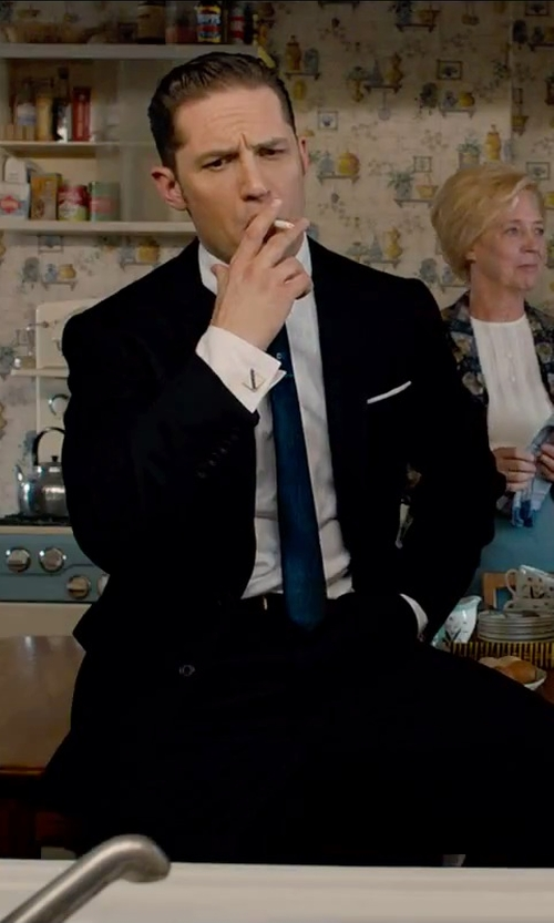 Tom Hardy with Thomas Pink Woven Pocket Square in Legend