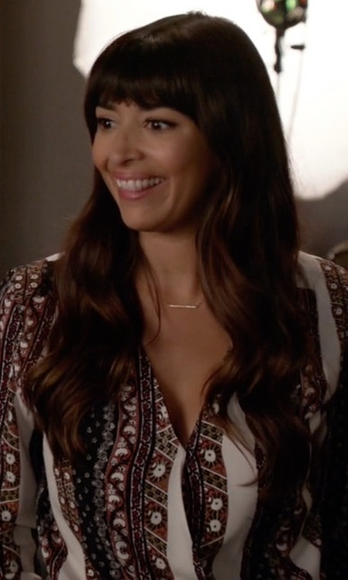 Hannah Simone with Joie Rosalind Silk Blouse in New Girl