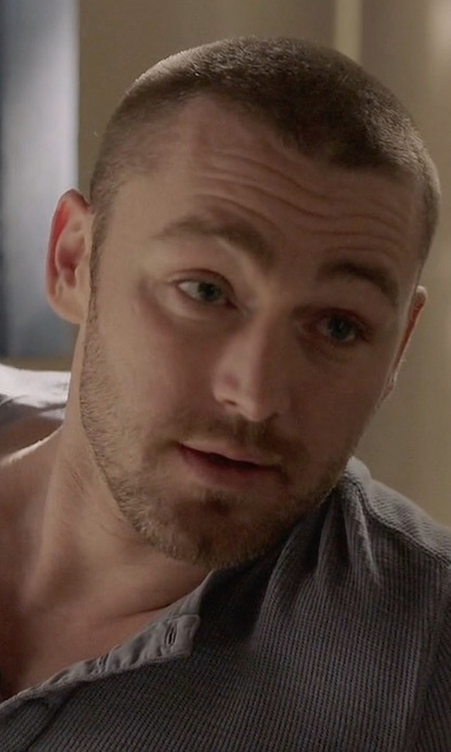 Jake McLaughlin with Michael Kors Ribbed Long-Sleeve Henley Shirt in Quantico