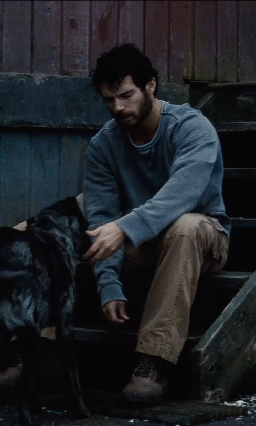 Henry Cavill with Alexander McQueen Raw Seam Sweatshirt in Man of Steel