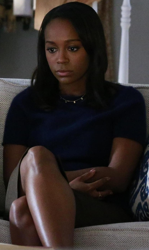 Aja Naomi King with Theory 'Tolleree' Short Sleeve Cashmere Pullover Sweater in How To Get Away With Murder
