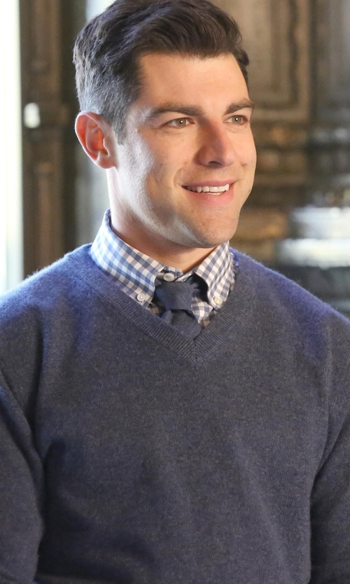 Max Greenfield with Brooks Brothers Madison Gingham Dress Shirt in New Girl