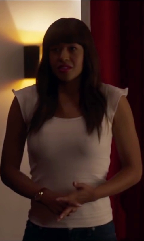 Kali Hawk with Eileen Fisher Cap Sleeve Silk Tee Shirt in Fifty Shades of Black