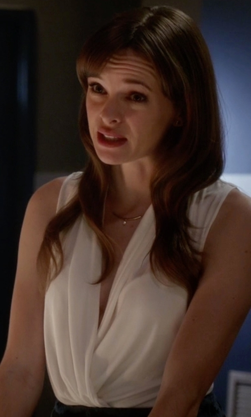 Danielle Panabaker with Vince Camuto  Faux Wrap V-Neck Blouse in The Flash