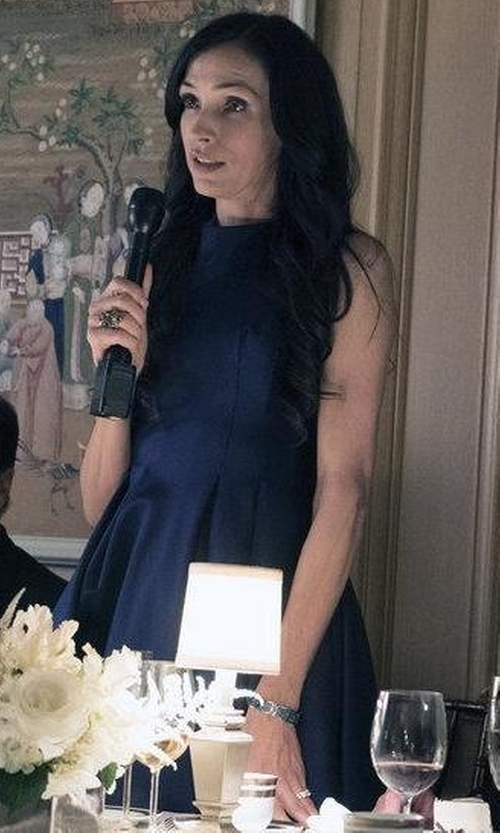 Famke Janssen with Carmen Marc Valvo Infusion Sequin Mikado Fit & Flare Dress in The Blacklist