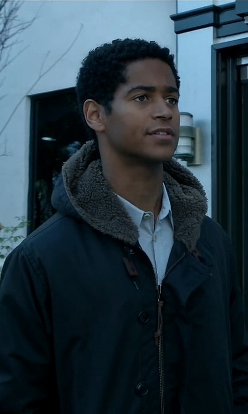 Alfred Enoch with River Island Bellfield Waterproof Parka Winter Coat in How To Get Away With Murder