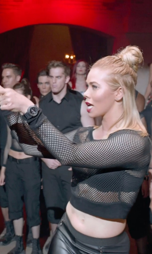 Birgitte Hjort Sørensen with Masie Mesh Long Sleeve Crop Top in Pitch Perfect 2