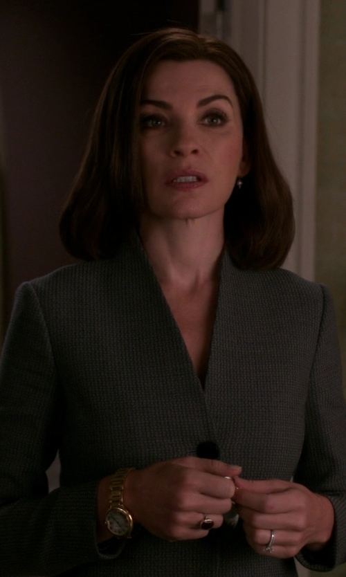 Julianna Margulies with Elie Tahari Leather Trim Collarless Blazer in The Good Wife