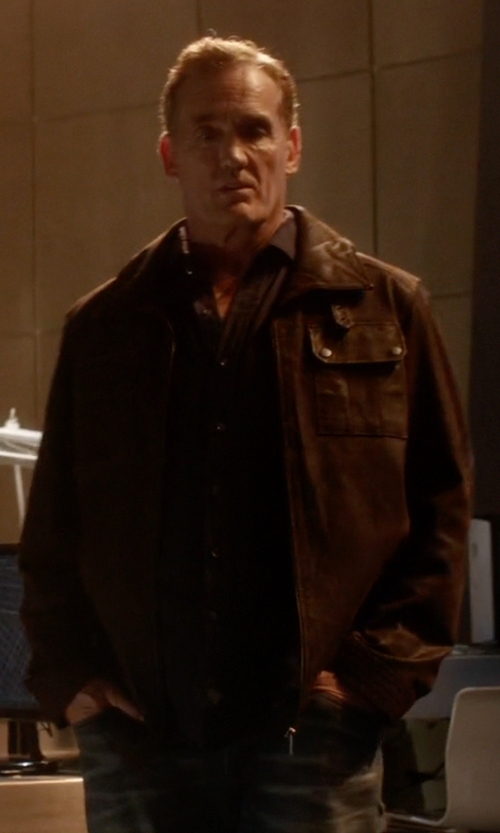 John Wesley Shipp with Vince Raw-Edge Leather Jacket in The Flash