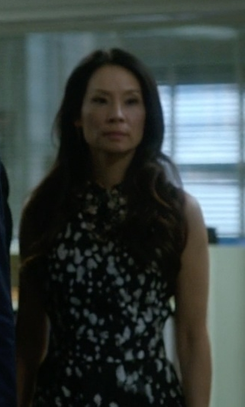 Lucy Liu with Dolce & Gabbana Wisteria Print Midi Dress in Elementary